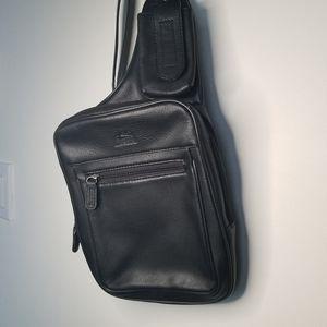 Mancini over the shoulder bag black fine leather